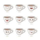 Χαριτωμένα και αστεία φλυτζάνια καφέ με τις διαφορετικές συγκινήσεις Στοκ Φωτογραφίες