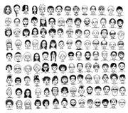 Χαριτωμένα και διαφορετικά συρμένα χέρι πρόσωπα Στοκ εικόνα με δικαίωμα ελεύθερης χρήσης