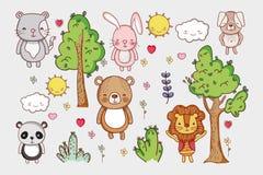Χαριτωμένα κινούμενα σχέδια ζώων doodle Στοκ εικόνες με δικαίωμα ελεύθερης χρήσης