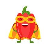 Χαριτωμένα κινούμενα σχέδια που χαμογελούν το superhero κόκκινων πιπεριών στη μάσκα και το κίτρινο ακρωτήριο, ζωηρόχρωμη εξανθρωπ Στοκ Εικόνες