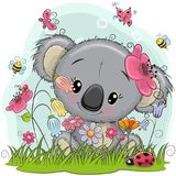 Χαριτωμένα κινούμενα σχέδια Koala σε ένα λιβάδι διανυσματική απεικόνιση