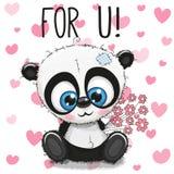 Χαριτωμένα κινούμενα σχέδια Panda καρτών βαλεντίνων με τα λουλούδια ελεύθερη απεικόνιση δικαιώματος