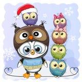Χαριτωμένα κινούμενα σχέδια Penguin και πέντε κουκουβάγιες διανυσματική απεικόνιση