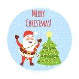 Χαριτωμένα κινούμενα σχέδια Santa με το χριστουγεννιάτικο δέντρο και τις χιονοπτώσεις Διανυσματικό πρότυπο καρτών Χριστουγέννων κ διανυσματική απεικόνιση