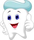 Χαριτωμένα κινούμενα σχέδια δοντιών που δίνουν έναν αντίχειρα επάνω απεικόνιση αποθεμάτων