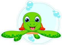 Χαριτωμένα κινούμενα σχέδια χελωνών Στοκ Εικόνες