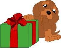 Χαριτωμένα κινούμενα σχέδια dachshund και ένα δώρο Στοκ φωτογραφία με δικαίωμα ελεύθερης χρήσης