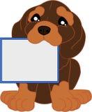 Χαριτωμένα κινούμενα σχέδια dachshund με τον πίνακα μηνυμάτων Στοκ εικόνες με δικαίωμα ελεύθερης χρήσης