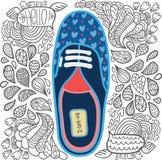 Χαριτωμένα κινούμενα σχέδια doodle hipster gumshoes Στοκ φωτογραφία με δικαίωμα ελεύθερης χρήσης