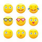 Χαριτωμένα κινούμενα σχέδια emoticons Διανυσματικό πακέτο εικονιδίων Emoji Κίτρινα πρόσωπα Smiley Στοκ εικόνα με δικαίωμα ελεύθερης χρήσης