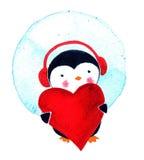 Χαριτωμένα κινούμενα σχέδια Penguin ευχετήριων καρτών με την καρδιά απεικόνιση watercolor που απομονώνεται Στοκ Φωτογραφία