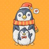 Χαριτωμένα κινούμενα σχέδια penguins Απεικόνιση κινούμενων σχεδίων στο κωμικό καθιερώνον τη μόδα ύφος Ελεύθερη απεικόνιση δικαιώματος