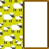 Χαριτωμένα κινούμενα σχέδια Sheeps και λευκός πίνακας με το διάστημα Στοκ φωτογραφίες με δικαίωμα ελεύθερης χρήσης