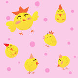 Χαριτωμένα κοτόπουλα κινούμενων σχεδίων, διανυσματική απεικόνιση Στοκ Φωτογραφία