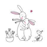 Χαριτωμένα κουνέλια, ένα καλάθι των καρότων και ένα πουλί Στοκ Εικόνες
