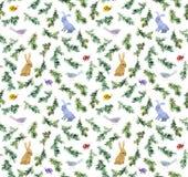 Χαριτωμένα κουνέλια, πουλιά, χριστουγεννιάτικο δέντρο κλάδων πρότυπο άνευ ραφής watercolor Στοκ εικόνες με δικαίωμα ελεύθερης χρήσης