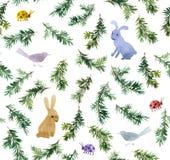 Χαριτωμένα κουνέλια, πουλιά, χριστουγεννιάτικο δέντρο κλάδων πρότυπο άνευ ραφής watercolor Στοκ Εικόνα