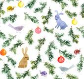 Χαριτωμένα κουνέλια, πουλιά, χριστουγεννιάτικο δέντρο, μπιχλιμπίδια πρότυπο άνευ ραφής watercolor Στοκ φωτογραφία με δικαίωμα ελεύθερης χρήσης