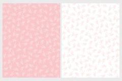 Χαριτωμένα λεπτά επαναλαμβανόμενα διανυσματικά σχέδια κλαδίσκων Ρόδινοι και άσπροι κλαδίσκοι και φύλλα ελεύθερη απεικόνιση δικαιώματος