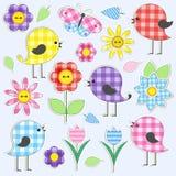 χαριτωμένα λουλούδια πουλιών διανυσματική απεικόνιση