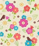 Χαριτωμένα λουλούδια και άνευ ραφής πρότυπο πουλιών Στοκ Φωτογραφία