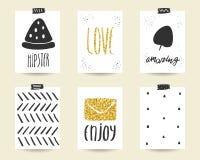 Χαριτωμένα μαύρα και χρυσά γενέθλια doodle, κάρτες ντους μωρών Στοκ εικόνες με δικαίωμα ελεύθερης χρήσης