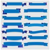 Χαριτωμένα μπλε κορδέλλες και εμβλήματα Στοκ Εικόνες