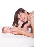 Χαριτωμένα οικογενειακά μητέρα και μωρό Στοκ Εικόνες