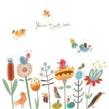 Χαριτωμένα λουλούδια και πουλιά απεικόνισης λουλουδιών Στοκ φωτογραφία με δικαίωμα ελεύθερης χρήσης