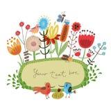 Χαριτωμένα λουλούδια και πουλιά πλαισίων λουλουδιών Στοκ Εικόνες