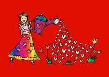 Χαριτωμένα λουλούδια ποτίσματος κοριτσιών απεικόνιση αποθεμάτων