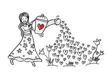 Χαριτωμένα λουλούδια ποτίσματος κοριτσιών ελεύθερη απεικόνιση δικαιώματος
