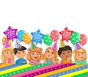 Χαριτωμένα παιδιά εμβλημάτων γενεθλίων έξυπνα Στοκ Εικόνα