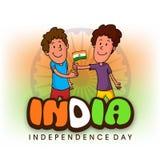 Χαριτωμένα παιδιά που γιορτάζουν την ινδική ημέρα της ανεξαρτησίας Στοκ Εικόνα