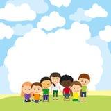 Χαριτωμένα παιδιά που διαφημίζουν το πρότυπο διανυσματική απεικόνιση