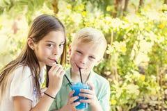 Χαριτωμένα παιδιά που μοιράζονται ένα εύγευστο αρωματικό ποτό πάγου από κοινού Στοκ εικόνα με δικαίωμα ελεύθερης χρήσης