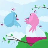 Χαριτωμένα πουλιά κινούμενων σχεδίων που φροντίζουν για ένα μεγάλο αυγό διανυσματική απεικόνιση