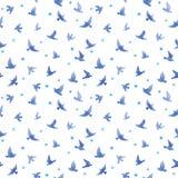 Χαριτωμένα πουλιά, μικρά λουλούδια πρότυπο άνευ ραφής watercolor Στοκ Εικόνα