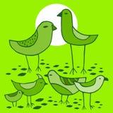 Χαριτωμένα πράσινα πουλιά καθορισμένα μπλε διάνυσμα ουρανού ουράνιων τόξων εικόνας σύννεφων Στοκ Εικόνες