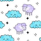 χαριτωμένα πρόβατα Διανυσματικό άνευ ραφής σχέδιο Watercolor Στοκ φωτογραφίες με δικαίωμα ελεύθερης χρήσης