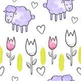 χαριτωμένα πρόβατα Διανυσματικό άνευ ραφής σχέδιο Watercolor Στοκ φωτογραφία με δικαίωμα ελεύθερης χρήσης
