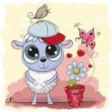 Χαριτωμένα πρόβατα ευχετήριων καρτών με το λουλούδι απεικόνιση αποθεμάτων