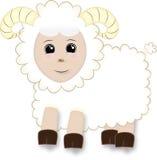 Χαριτωμένα πρόβατα κινούμενων σχεδίων με τα κέρατα Στοκ φωτογραφίες με δικαίωμα ελεύθερης χρήσης