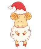 Χαριτωμένα πρόβατα μωρών κινούμενων σχεδίων που φορούν το καπέλο santa Στοκ φωτογραφία με δικαίωμα ελεύθερης χρήσης