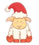 Χαριτωμένα πρόβατα μωρών κινούμενων σχεδίων που φορούν το καπέλο santa Στοκ Εικόνες