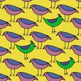 Χαριτωμένα ρόδινα και πράσινα πουλιά καθορισμένα άνευ ραφής διάνυσμα προτύπων Στοκ Εικόνα
