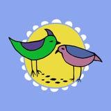 Χαριτωμένα ρόδινα και πράσινα πουλιά καθορισμένα μπλε διάνυσμα ουρανού ουράνιων τόξων εικόνας σύννεφων Στοκ εικόνα με δικαίωμα ελεύθερης χρήσης