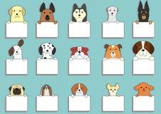 Χαριτωμένα σκυλιά με τις κάρτες απεικόνιση αποθεμάτων
