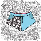 Χαριτωμένα σορτς κινούμενων σχεδίων doodle hipster. Στοκ φωτογραφίες με δικαίωμα ελεύθερης χρήσης