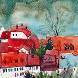 Χαριτωμένα σπίτια με το κόκκινο έργο τέχνης watercolor στεγών Στοκ φωτογραφία με δικαίωμα ελεύθερης χρήσης